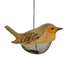 Robin Shaped Bird Feeder Hanging Garden Ornament Peanut Feeder