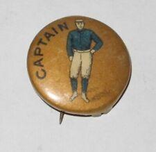 1896 PD1 Baseball Player Captain Position Advertising Pin Button Gold Color