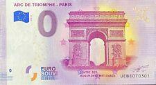 BILLET 0  EURO ARC DE TRIOMPHE PARIS  FRANCE  2020 NUMERO  DIVERS