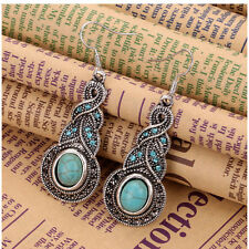 2 Pcs Women Tibet Silver Turquoise Gemstone Charm Dangle Earrings Jewelry BYC113