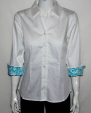 Lilly & Van Stretch Cotton Button Front Shirt with 3/4 Sleeves