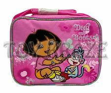 DORA THE EXPLORER LUNCH BOX! PINK FLOWERS SOFT CLOTH BOOTS SNACK BAG TOTE NWT