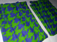 Retro Vintage MCM Houndstooth Pinch Pleated Drape Curtains Green Blue Barkcloth