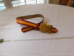 Moschino belt VINTAGE gold cow bear people gold yellow red 42 leather striped