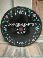 Black Marble Dining Table Top Precious Floral Inlaid Work Handcrafted Art