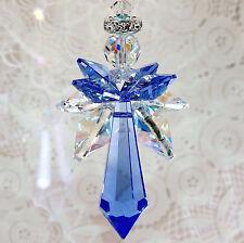 mw Swarovski® crystal RARE Sapphire Icicle AB & Blue Quad Wings Angel SunCatcher
