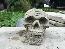 Tribal Skull Halloween GRAY CEMENT STATUE CONCRETE Lawn Ornament Decoration