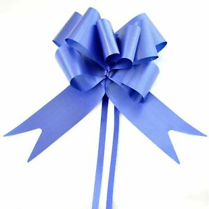 30 x 50mm Large Pull Bows Navy Blue Satin Ribbons Wedding Gifts Wrap Decorations