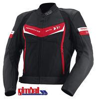 "IXS Motorradjacke Leder- / Textiljacke ""ROCKFORD"" schwarz-rot-weiss TOP Qualität"