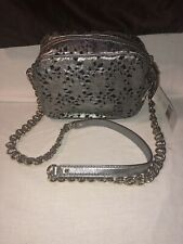 "Kate Spade Crossbody Bag NWT Silver Perforated Flowers ""camera"" Bag"