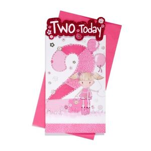 AGE 2 BIRTHDAY CARD ~ Girl Bag Balloons & Patchwork Number