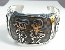 925 sterling silver cuff bracelet with Day of the Dead motif by Maria Belen