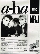 Publicité advertising 1986 Concert A-Ha avec radio NRJ