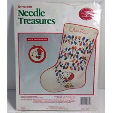 "Needle Treasures Peanuts Snoopy ""Bright Lights"" Stocking Hand Embroidery Kit"