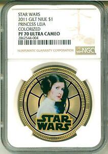 2011 Niue $1 Star Wars Gilt Princess Leia Silvered Colorized NGC PF70 Ultra Cam