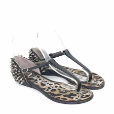 7c53de5af6d4d7 Sam Edelman Black Leather Studded Thong Sandals Womens 6 M