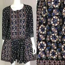 $178 Anthropologie Vanessa Virginia Small Black Embroidered Tunic Flare Dress