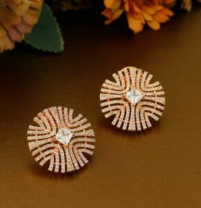 Wedding Engagement Affordable Stud Earrings 2Ct Round Diamond 14K Rose Gold Over