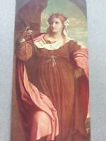 ANTIQUE PRINT DATED 1908 ST BARBARA BY PALMA VECCHIO RELIGIOUS RELIGION ART
