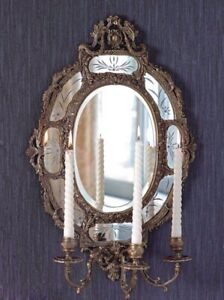 58x39cm Brass framed oval mirror plaque Chinoiserie European Style