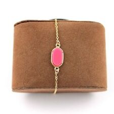 Anklet or Bracelet Pink Acrylic Oval Gold Tone Chain Nice! Us Seller