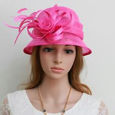 New Woman Church Wedding Cocktail Party Sinamay Ascot Cloche Dress Hat 26hotpink