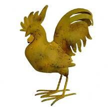 grand statue sculpture coq oiseaux aminaux en metal fer decoration de jardin