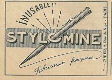 Publicité 1926 STYLOMINE Stylo pen
