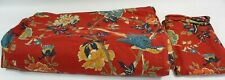 POTTERY BARN BRIGHTON Red King Duvet Euro Sham RED TEALTAN BIRDS LINEN
