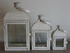 "Melrose International Lantern White Clear Glass set of 3, 7-1/2""/10-3/4""/14"""
