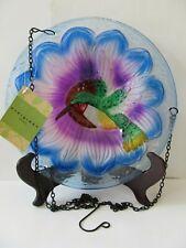 Evergreen Garden Hanging Glass Bird Bath / Feeder Hummingbird Design New W/Tag
