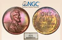 1957 1C NGC MS65RB Monster Toned Lincoln Cent - RicksCafeAmerican.com