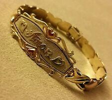 "Women's 14K Solid Gold TRI-Tone Love Heart Amor Bracelet 6.75"""
