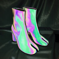Chic Womens Tabi Ankle Boots Genuine Leather Reflect Light Sequins Boots Shoes