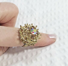 Vintage Gold Crystal Dome Statement Ring
