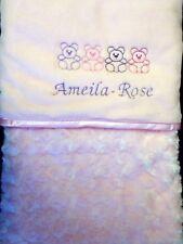 Personalised Rosebud baby coperta in pile embroiderded Teddy Rosa Ragazza Regalo