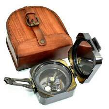 Antiqed Nautical Compass Collectibles Brass Brunton Maritime item Leather Case