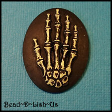 2 x Skeleton Hand Tattoo Cameo 40x30mm Gothic Rockabilly Pendant Cabochon DIY