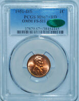1951 D/S PCGS MS67+RD CAC FS-511 Red OMM Over Mint Mark Lincoln Wheat Cent