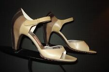 Tsubo Taupe/Tan Leather Peep-Toe Heels Sz. 37/7 US MINT! WOW!