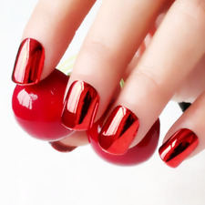 SHORT METALLIC *RED* Full Cover Press On 24 Nail Tips + Glue!