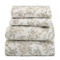 Beautiful Bedding Super Soft Egyptian Comfort Sheet Set Taupe Silver Floral