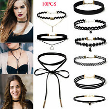 10Pcs/Pack Women's Gothic Punk Velvet Tattoo Lace Choker Collar Pendant Necklace