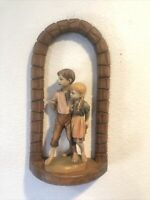 ANRI KUOLT WOOD CARVING FIGURINE And Frame Hansel & Gretel Hiding Sandwiches