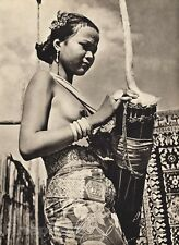 1940 BORNEO FEMALE NUDE Woman Breasts Music Drum Festival Fashion Jewelry ~ WONG