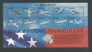 Samoa 1983 DC-1 DC-10 stamps in Special  Mini Sheet SG 638  MUH