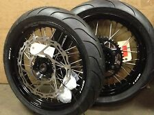 "Warp 9 17"" Supermoto Wheels with Michelin Tires Suzuki DR650 96-16"