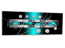 "Glass Wall Art AG312500057 PICTURE STRIPES & DOTS CYAN 49.2""x19.7"" / 125x50cm XX"