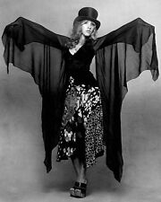 Stevie Nicks Fleetwood Mac Black Dress and Top Hat B/W  8x10 Glossy Photo
