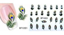 Peacock Feathers 3D Nail Art Sticker Decal Decoration Manicure Water Transfer
